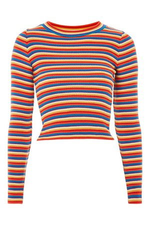Rainbow Striped Knitted Top