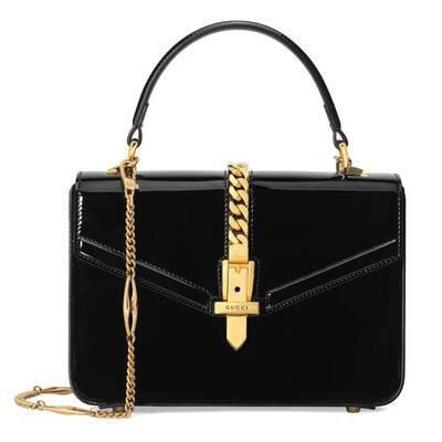 Black Patent Leather Sylvie 1969 Mini Top Handle Bag | GUCCI® US