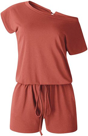 Amazon.com: ANRABESS Women's Jumpsuit Crewneck One Off Shoulder Short Sleeve Elastic Waist Romper Playsuits with Pocket: Clothing