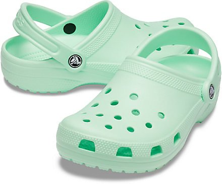 mint green crocs