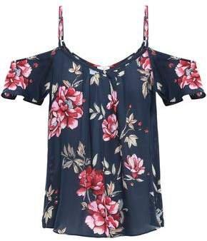 Adorlee Cold-shoulder Floral-print Silk-crepe Top