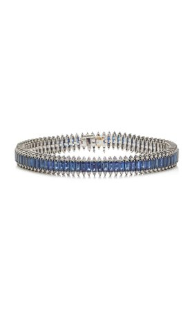 18k White Gold, Black Rhodium, Diamond And Sapphire Bracelet By Nam Cho | Moda Operandi