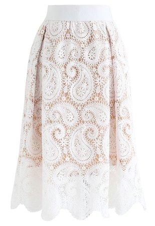 Chic Wish Full Crochet A-Line Midi Skirt - Retro, Indie and Unique Fashion