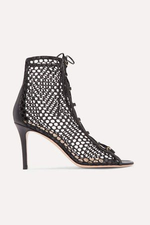 85 Lace-up Mesh And Leather Ankle Boots - Black