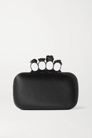 Four Ring Embellished Silk-satin Clutch - Black