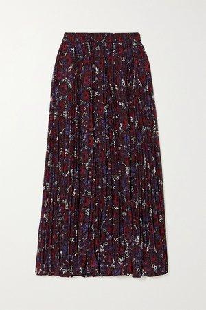 Dark purple Zinnia pleated floral-print chiffon midi skirt   MICHAEL Michael Kors   NET-A-PORTER