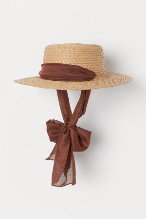 Chin-tie straw hat - Beige/Brown - Ladies | H&M GB