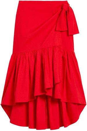 Poplin Ruffle Wrap Skirt