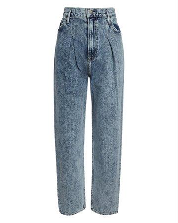 GRLFRND Teagan Pleated Straight-Leg Jeans   INTERMIX®