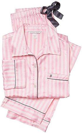 Amazon.com: Victoria 's Secret Afterhours Juego de 2piezas de pijama de satén rayas, color rosa grande Regular: Clothing