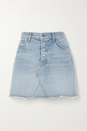 Mid denim Eva frayed denim mini skirt | GRLFRND | NET-A-PORTER