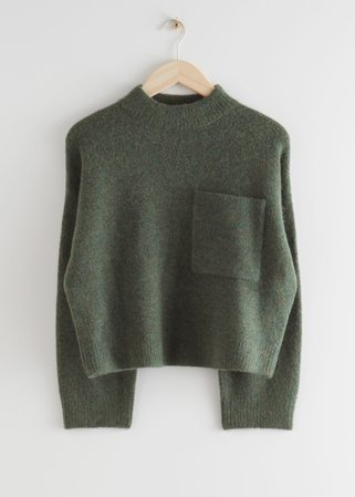 Chest Pocket Knit Sweater - Dark Green - Sweaters - & Other Stories