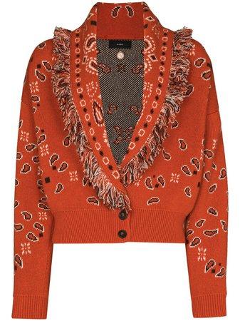 Shop Alanui bandana-pattern V-neck cardigan with Express Delivery - FARFETCH