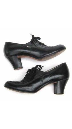 Red Cross Nurses Shoes Vintage 1940s Cuban Heel Size 6.5