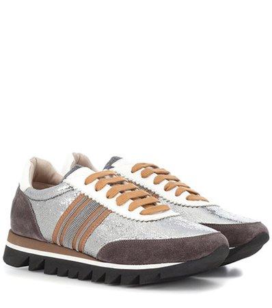 Colorblocked suede sneakers