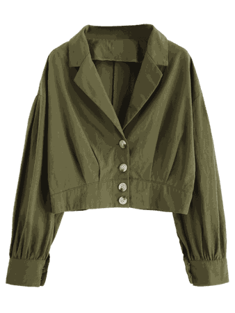 [49% OFF] 2019 Lapel Drop Shoulder Button Up Blouse In CAMOUFLAGE GREEN XL | ZAFUL