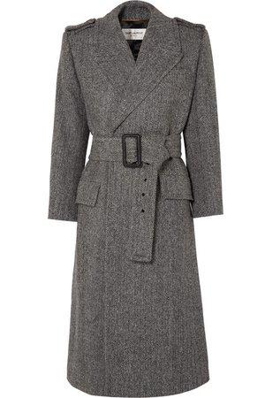 SAINT LAURENT | Belted herringbone wool coat | NET-A-PORTER.COM