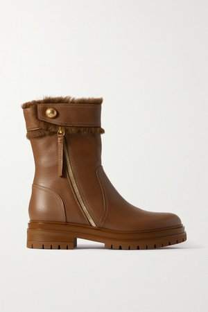 Montreal Shearling-trimmed Leather Ankle Boots - Tan