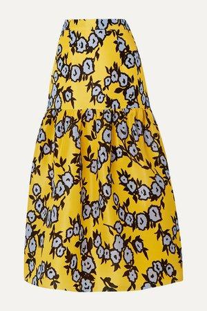 Tiered Floral-print Silk-organza Midi Skirt - Yellow