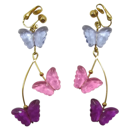 Avon Long Dangling Earrings with Pink. Purple Lavender Butterflies - : Past Perfection Vintage Costume Jewelry | Ruby Lane