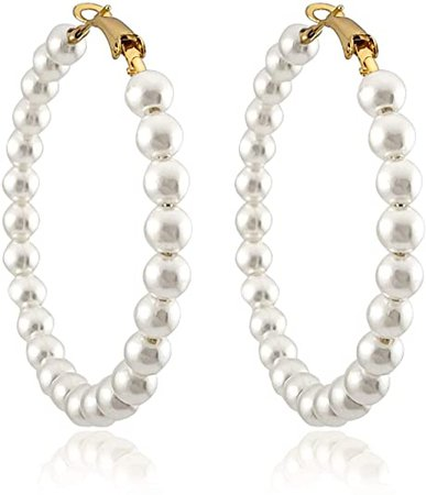 Amazon.com: Pearl Hoop Earrings for Women Fashion Dangle Hypoallergenic Layer Earrings Drop Dangle Earrings Gifts for Women (Pearl hoop): Clothing