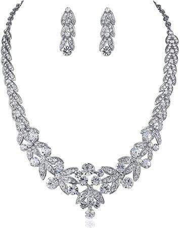 Amazon.com: Janefashions Floral Clear Austrian Rhinestone Crystal Necklace Earrings Set Bridal Prom N1601 Silver: Jewelry