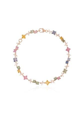 Suzanne Kalan 18Kt Rose Gold Sapphire Diamond Rainbow Firework Bracelet | Farfetch.com
