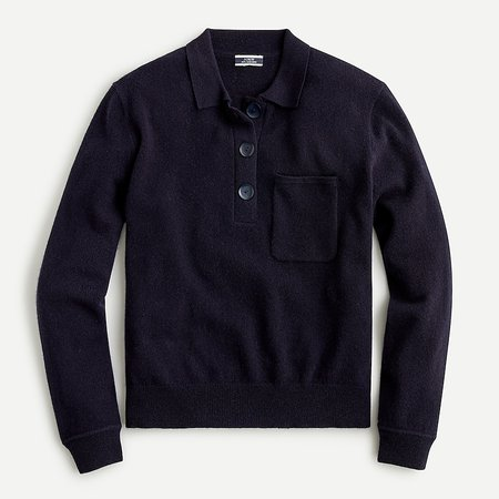 J.Crew: Collared Cashmere Sweater For Women black