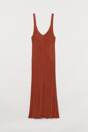 Rib-knit Dress - Orange