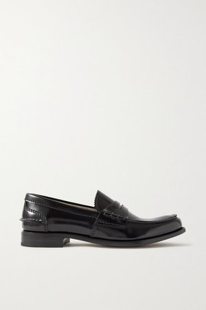 Pembrey Glossed-leather Loafers - Black