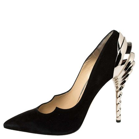 Paul Andrew Black Suede Chrysler Zenadia Pumps Size 38.5 For Sale at 1stDibs