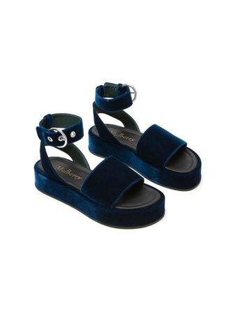 Dark blue velvet platform sandals