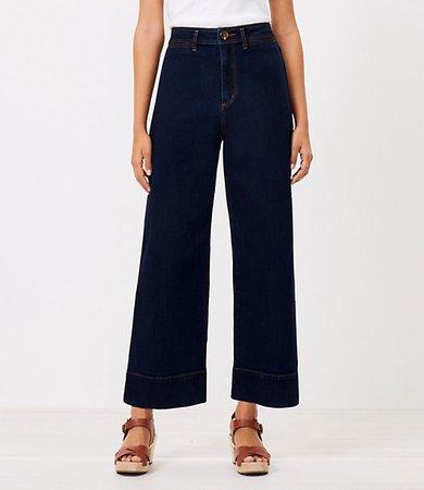 The Petite High Waist Wide Leg Jean in Refined Dark Indigo Wash