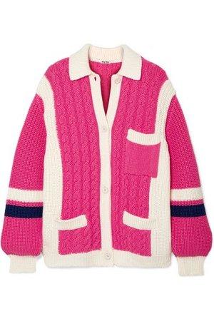 Miu Miu - Oversized Cable-knit Wool Cardigan - Pink