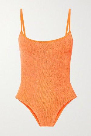 Net Sustain Maria Seersucker Swimsuit - Bright orange