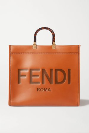 Brown Sunshine Shopper logo-embossed leather tote | Fendi | NET-A-PORTER