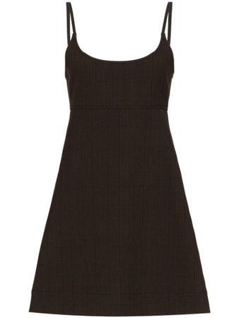 Ganni Checked Mini Dress F4198 Brown   Farfetch