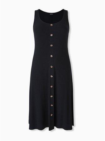 Plus Size - Black Rib Button Midi Dress - Torrid