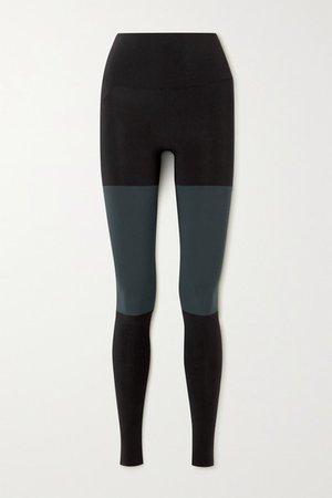 Two-tone Stretch-jersey Stirrup Leggings - Black