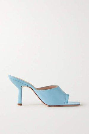 Porte & Paire - Leather Mules - Sky blue