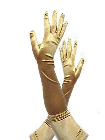 Opera Length Gold Stretch Satin Gloves - Blue Velvet Vintage