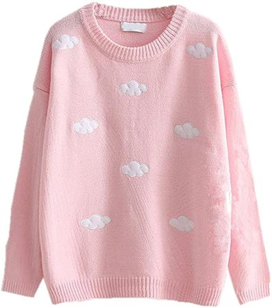 Packitcute Loose Knitted Sweaters for Juniors Girls Autumn Winter Cute Clouds Casual Sweater Pullover (Sky Blue) at Amazon Women's Clothing store