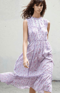 Ulla Johnson Caravan Purple Floral Cotton Voile Sleeveless Midi Dress Size 2 | eBay