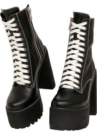 platform combat boots (black)