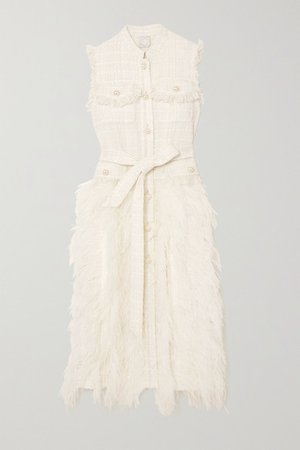 Wyatt Feather-trimmed Tweed And Pleated Crepe Dress - Ivory