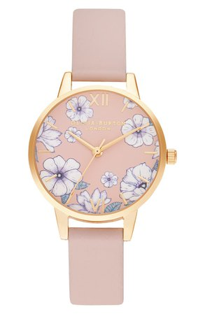 Olivia Burton Groovy Blooms Faux Leather Strap Watch, 30mm | Nordstrom