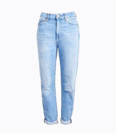 Petite High Rise Slim Pocket Boyfriend Jeans in Vintage Light Indigo Wash