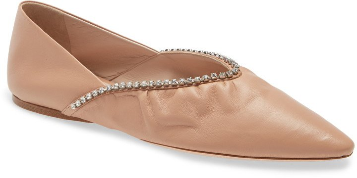 Crystal Embellished Pointed Toe Ballet Flat