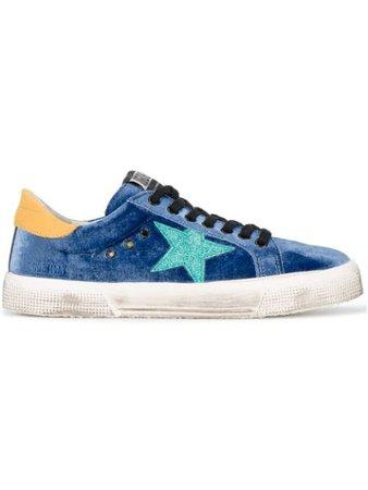 Golden Goose Blue Glitter May Velvet Sneakers - Farfetch