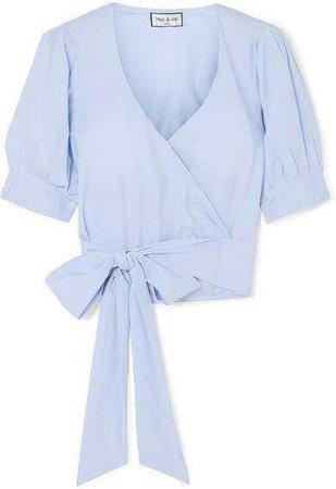 Paul & Joe Striped Cotton Wrap Top - Blue